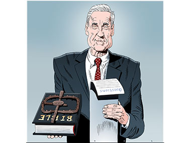 Special council Mueller with bible with bear trap on it and a list of questions