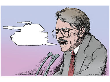 Daniel Ortega millitary response in Nicaragua with speach bubble that looks like a tank.