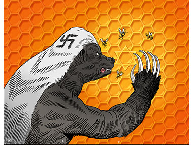 Nazi bear sees star of david in honeycomb