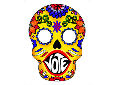 Day of dead mask says vote