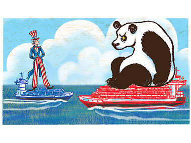 Giant Uncle sam sees an even more gian panda from deck of cargo ship
