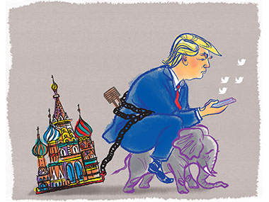Trump tweeting while riding a small elepant and dragging a building from Russia
