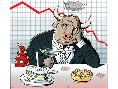 Bull upset about lackluster economy.
